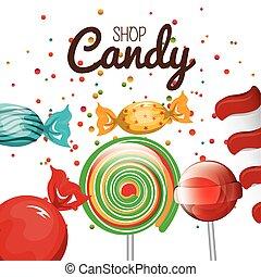sklep, graficzny, spirala, cukierek, lizak