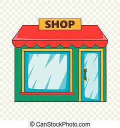 sklep, ikona, styl, płaski