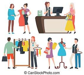 sklep, kantor, ludzie, doradca, zakupy, kasjer