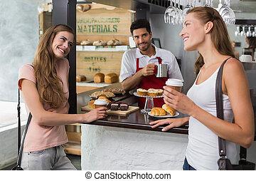 sklep, kawa, barista, kantor, samiec, przyjaciele