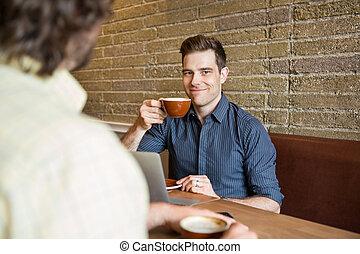 sklep, kawa, człowiek, uśmiechanie się, posiadanie