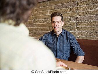 sklep, kawa, przystojny, obsadzać posiedzenie