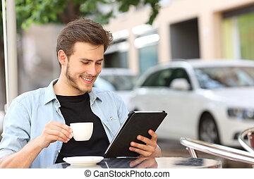 sklep, kawa, tabliczka, ebook, czytanie, albo, człowiek