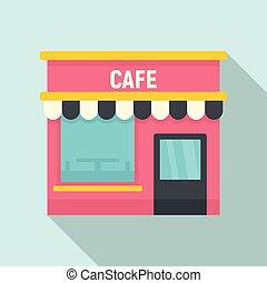 sklep, kawiarnia, płaski, ulica, ikona, styl