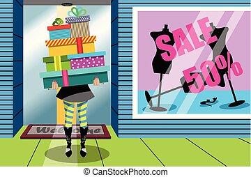 sklep, kobieta shopping, dar, dary, okno, stóg