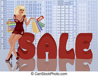 sklep, kobieta, z, shopping torby