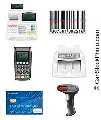 sklep, komplet, bankowość, ikony, ilustracja, wyposażenie, wektor, handlarski, pień