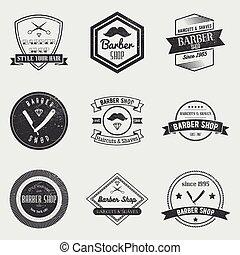 sklep, komplet, elementy, rocznik wina, etykiety, emblematy, wektor, projektować, logo, fryzjer, style., symbole