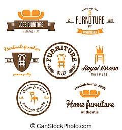 sklep, komplet, rocznik wina, logotype, elementy, odznaka, logo, meble