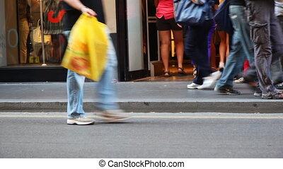 sklep, lato, obuwie, ludzie, słoneczny, iść, nogi, dzień