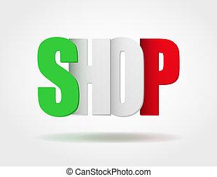 sklep, logo, internet, typografia, włoski