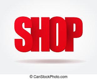 sklep, logo, typografia, czerwony, internet