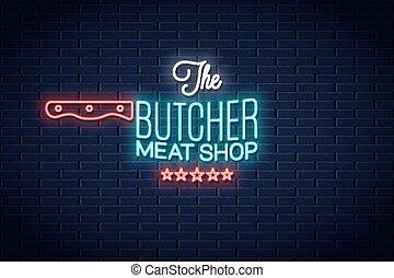 sklep, mięso, poznaczcie., neon, rzeźnik, tło, logo