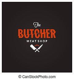 sklep, mięso, rzeź, rzeźnik, topór rzeźniczy, logo., nóż