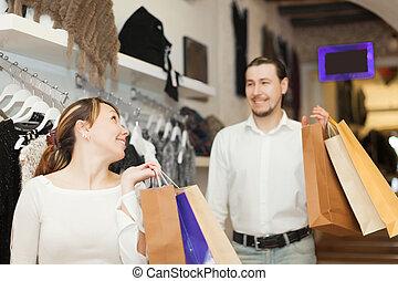 sklep, mnóstwo, para, zakupy