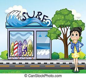 sklep, myśli kobieta, przód, surfing