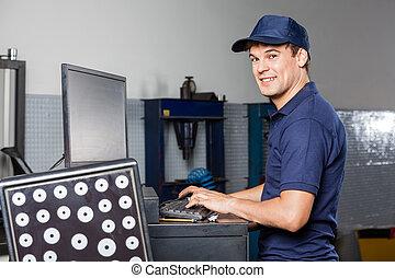 sklep, naprawa, auto, komputer, mechanik, używając