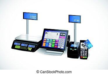 sklep, odbijacz, -, rejestr, gotówka, terminal, wyposażenie, detal, wpłata, karta