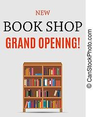 sklep, otwarcie, ilustracja, tło., wektor, wielki, nowy, książka
