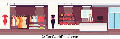 sklep, płaski, fason, ekspedientka, wspaniały, cielna, butik, kantor, nowoczesny, gotówka, mall, samica, biurko, wewnętrzny, zakupy, poziomy, chorągiew, targ, odzież