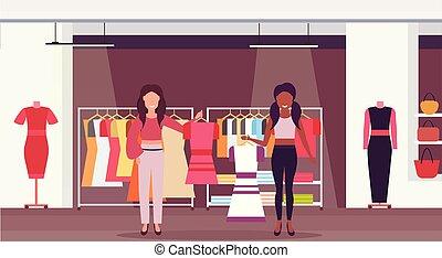 sklep, płaski, fason, zakupy, litery, ekspedientki, cielna, butik, prąd, mall, zmieszać, długość, pełny, samica, dzierżawa, wewnętrzny, poziomy, rysunek, stroje, odzież