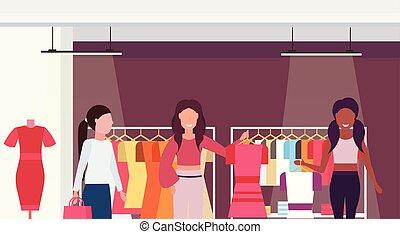 sklep, płaski, klientela, fason, zakupy, litery, cielna, butik, zmieszać, mall, prąd, samica, dzierżawa, wewnętrzny, portret, poziomy, rysunek, stroje, odzież
