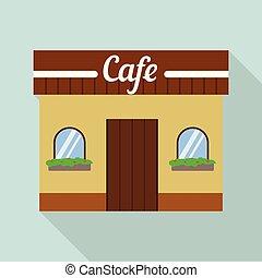 sklep, płaski, styl, ulica, ikona, kawiarnia