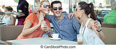 sklep, przyjaciele, kawa, grupa