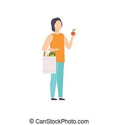 sklep, reputacja, sklep spożywczy, pełny, zakupy, warzywa, młody, ilustracja, torba, wektor, tło, owoce, biały, facet, człowiek