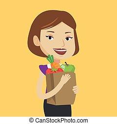sklep spożywczy, kobieta shopping, dzierżawa, bag., szczęśliwy