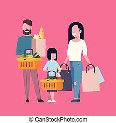 sklep spożywczy, pełny, zakupy, rodzina, młody, torba, papier, wyroby, dzierżawa, kosz