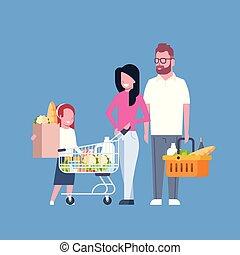 sklep spożywczy, pełny, zakupy, rodzina, młody, wóz, papier, wyroby, dzierżawa, kosz, torba