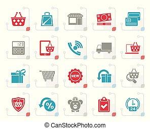 sklep, stylizowany, kreska, e-handel, ikony