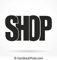 sklep, sylwetka, prosty, symbol, typografia, beletrystyka, logo