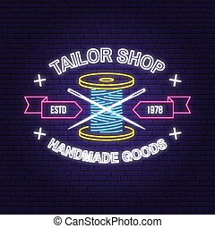 sklep, szycie nitka, handlowy, rocznik wina, igła, neon, typografia, silhouette., szpulka, krawiec, projektować, retro, vector., noc, emblem., albo, signboard.