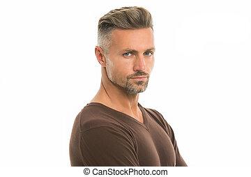 sklep, transakcja, włosy, anti, hair., him., ageing., shampoo., concept., obrządził konia, petycje, patrząc, pociągający, roots., dobry, grizzle, hairdresser., fryzjer, twarzowy, srebro człowiek, szary, dobrze, dojrzały, wzór