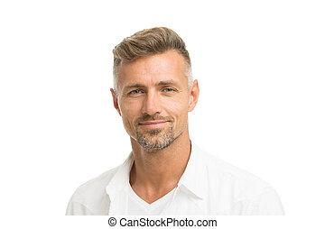 sklep, transakcja, włosy, anti, model., hair., ageing., shampoo., concept., obrządził konia, petycje, patrząc, pociągający, roots., dobry, dojrzały, hairdresser., fryzjer, twarzowy, jemu, człowiek, szary, dobrze, grizzle, srebro