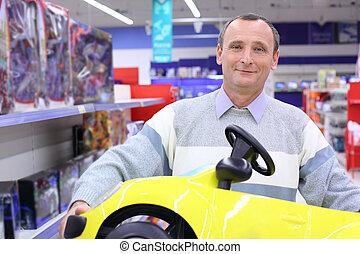 sklep, wóz, siła robocza, starszy człowiek, dzieci