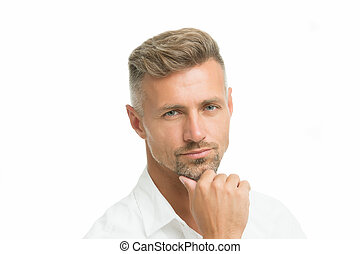 sklep, włosy, zamyślony, model., hair., him., piękno, shampoo., concept., obrządził konia, petycje, patrząc, człowiek, dobry, dojrzały, hairdresser., expression., fryzjer, twarzowy, srebro, przystojny, dobrze, twarz, grizzle, samiec