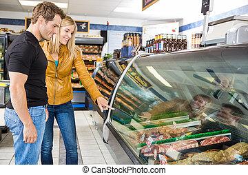 sklep, wybierając, para, mięso, rzeźnicki