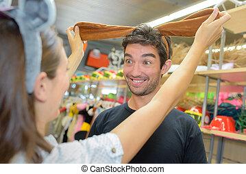 sklep, zakupy, extatic, para, znowu, kostium, zabawa, posiadanie