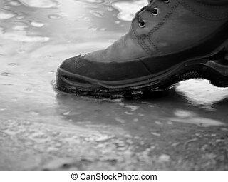 sko, in, vatten