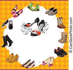 sko, mode, kort