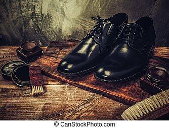 sko, trä tabell, omsorg, tillbehör