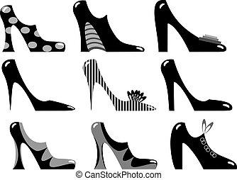 skodon, fashionabel, kvinnor