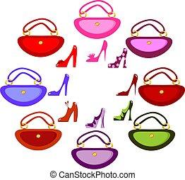 skodon, kvinnor, handväska