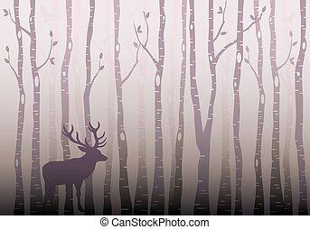skog, vektor, träd, björk