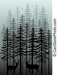 skog, vektor, vinter