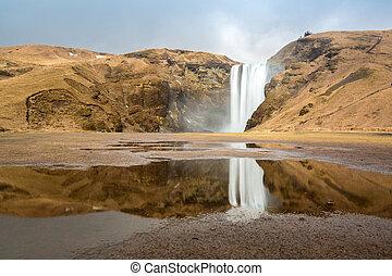 skogafoss waterfall Iceland - skogafoss waterfall and its...