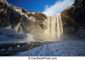Skogafoss Waterfall in the Winter, Iceland